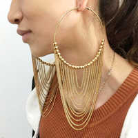 MANILAI de moda Circular de Metal largo Pendientes de borla para las mujeres joyería India aros colgantes cadena de oro Color bola Pendientes
