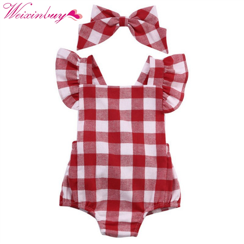 2017 Fashion Red an White Gird Romper Newborn Infant Clothing Girls Cotton Ruffle Sleeve Romper Jumpsuit+ Headger 0-18M tie front ruffle hem striped romper