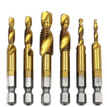 цена на 6pcs Hex Shank Hand Drill Bits Titanium Tap HSS Screw Spiral Point Thread Metric Plug Drill M3 M4 M5 M6 M8 M10 Fit Metal Steel