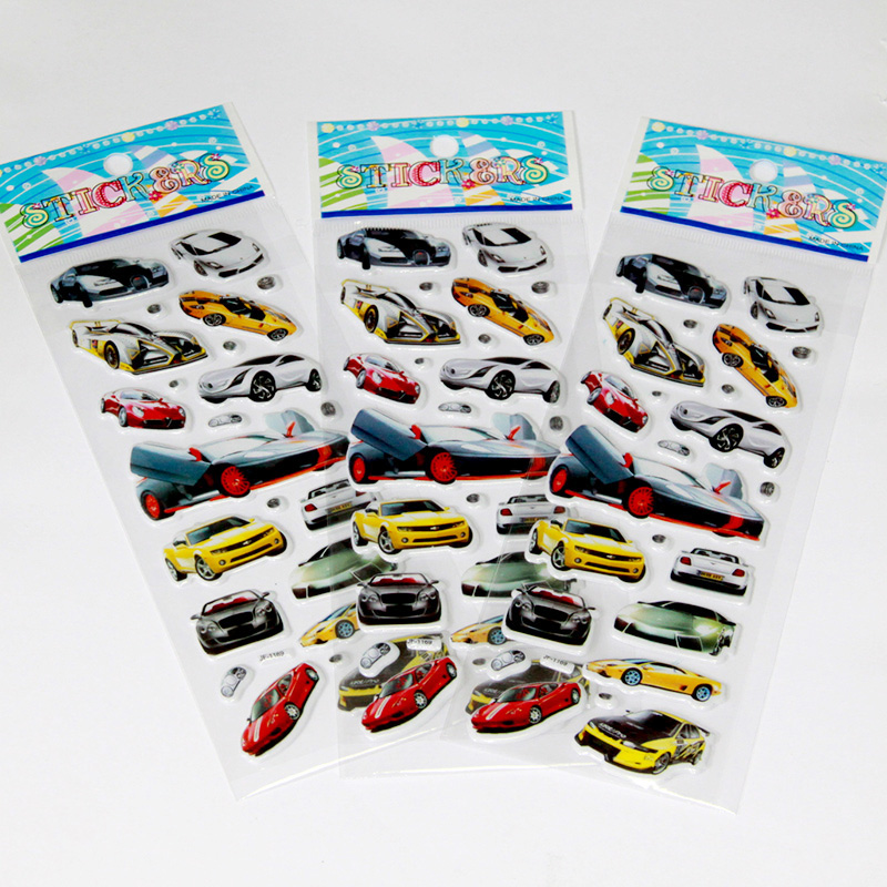 12 Sheets lot Cute Puffy Sticker Kids Girls Boys Thomas Cars Cartoon Stickers Toys for children