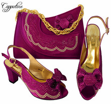 Capputine Best Selling Rhinestone Middle Heel Sandals And Bag Set Italian Style Woman Shoes And Purse Set For Party MM1046