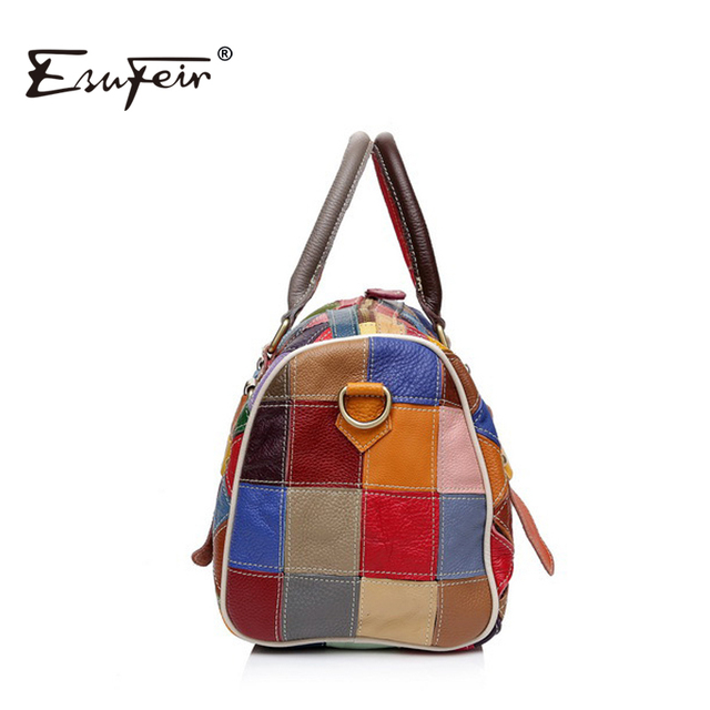 ESUFEIR Patchwork Genuine Leather Boston Women Handbag Fashion Shoulder Bag Cowhide Splice Women Bag bolsos sac a main KJ054