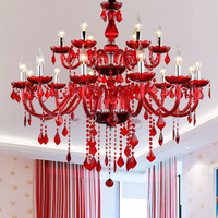 Red Crystal Chandeliers E14 Socket Red K9 Chandelier Crystal lampadario Chandelier Ceiling Without Lampshade
