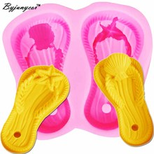 04b6789835d8a4 Byjunyeor Flip Flop Shoe Starfish Shell Cake Silicone Mold Wedding Fondant  Cake Decorating Tools Gumpaste Chocolate