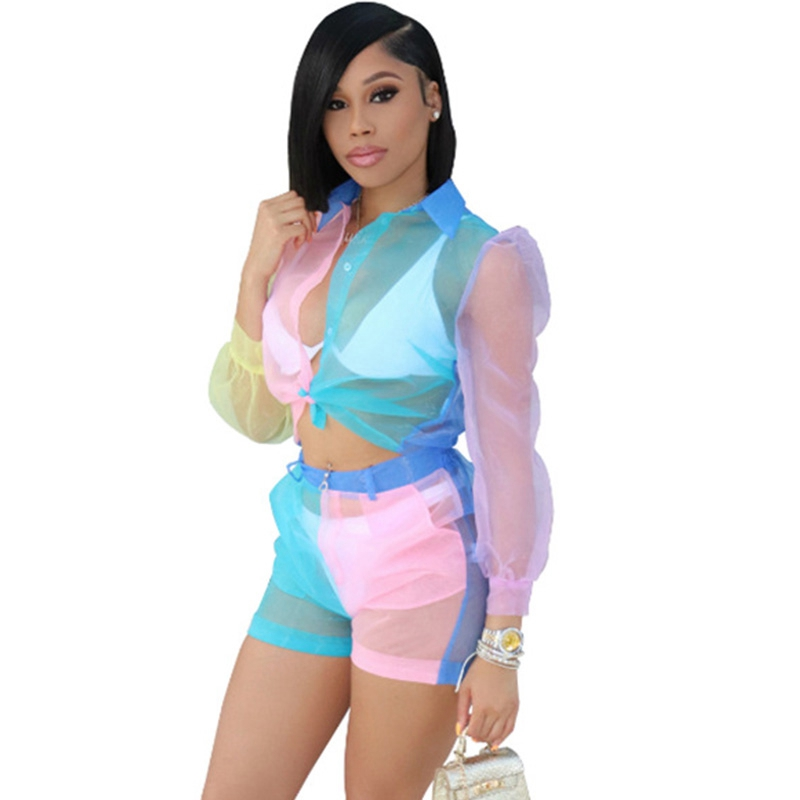 Sheer Mesh Short Two Piece Set Women Tracksuit Casual Patchwork Crop Top Shorts Set Summer 2 Piece Women Matching Sets Outfit