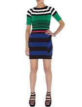 Preppy Style Women Strip Sheath Dress Short Sleeve High Elasticity Dresses