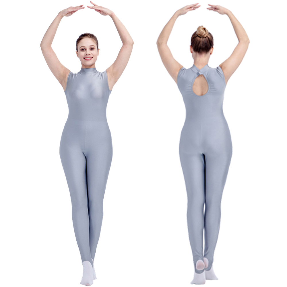 Retail Ready To Ship White Turtle Neck Sleeveless Back Hole Dance Unitards For Girls Girls Dancing