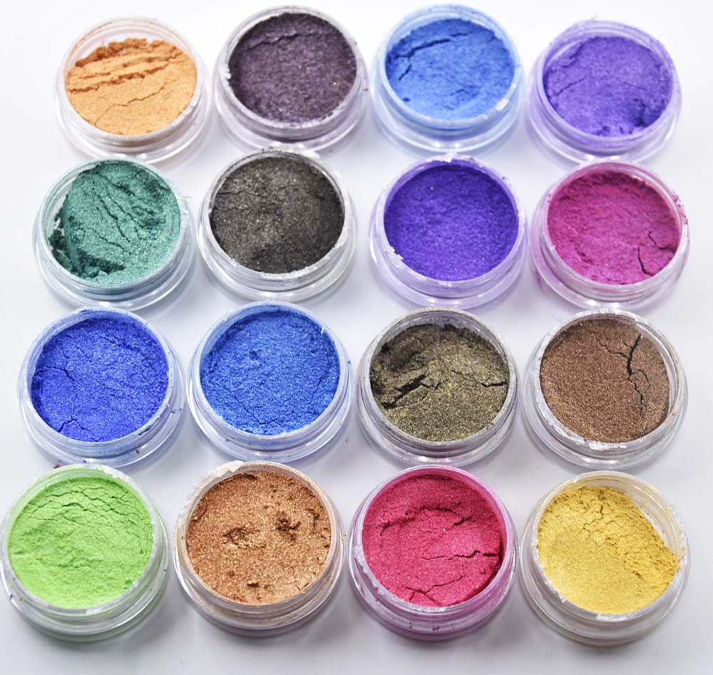 16jars/Set 16colors Mica Powder Kit - Cosmic Shimmer Mica Powder Sparkly Decoration for eye shadow, Paper Crafts, Nail Art etc chantecaille shine eye shade refill mica цвет mica variant hex name 908a94