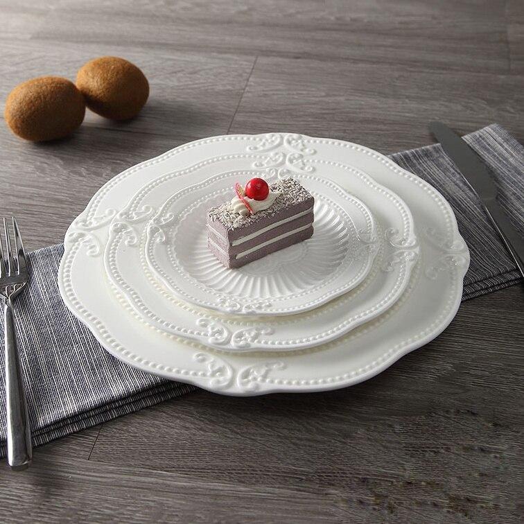 3 pièces/ensemble en céramique Floral en relief plat dîner assiette ensemble porcelaine plateau de service vaisselle pour plat principal, apéritif et Dessert
