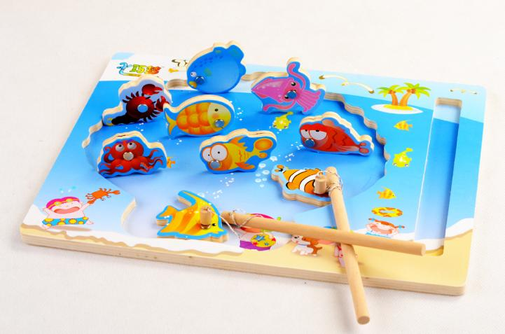 Free shipping children s educational fishing toys wooden toys magnetic beach scene fishing game parent child