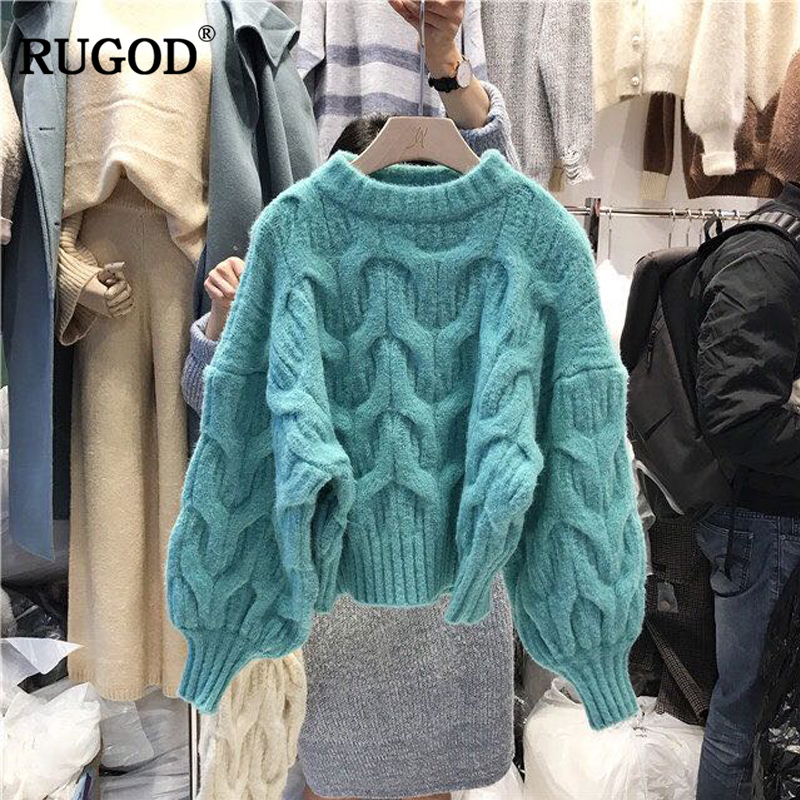 RUGOD Fashion Solid Christmas Sweater O-neck Lantern Sleeve Thick Winter Pullover Female Casual Short Pull Femme Hiver