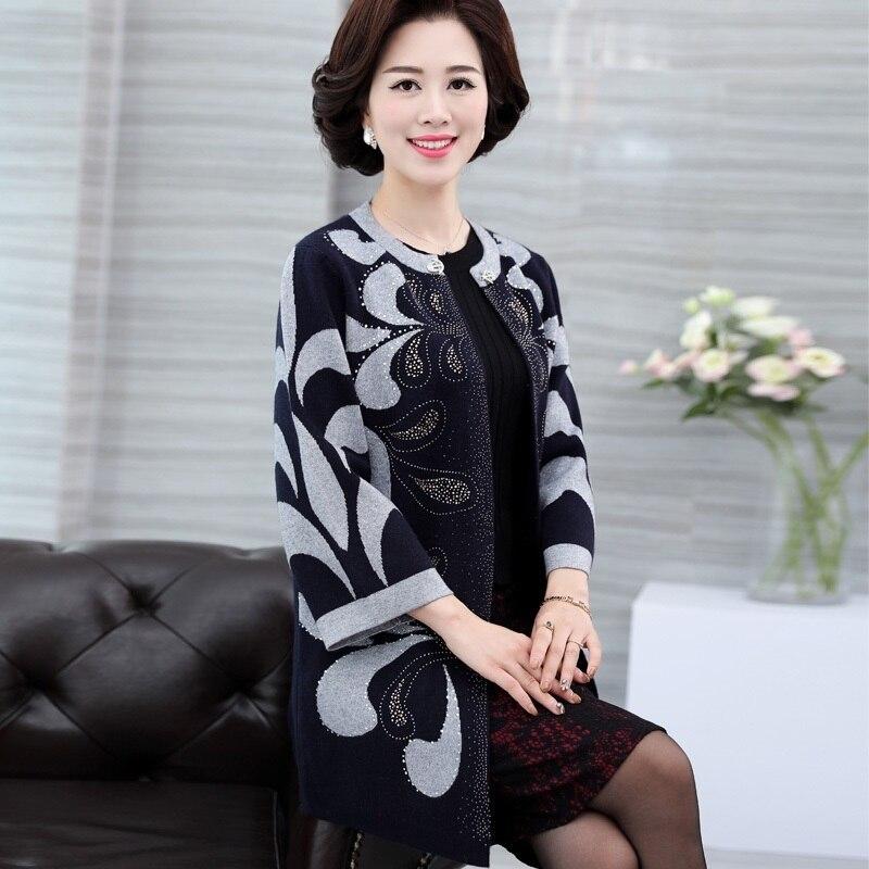 Nouveau 2018 femmes d'âge moyen imprimé Cardigans femmes chandails col en fourrure à manches longues laine tricoté lâche chandail Cardigan E105