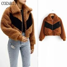 цена COZARII england casual style turn-down collar zipper patchwork women jacket casaco feminino jaqueta feminina plus size tops