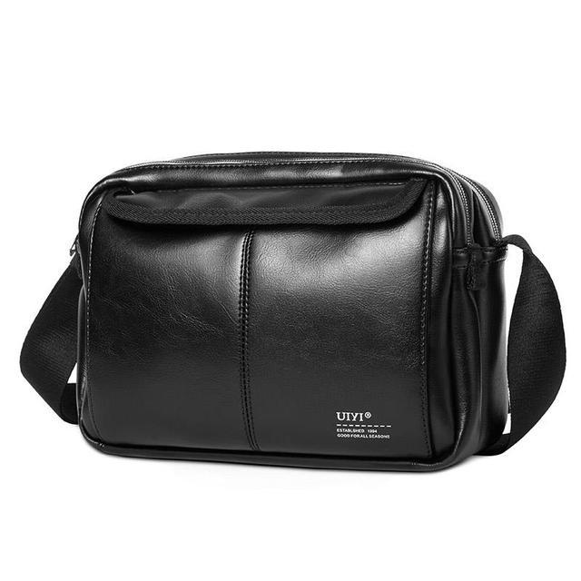 856870cce Uiyi marca clásica negro pvc bolso de cuero hombres mensajero bolsas de la  honda de la