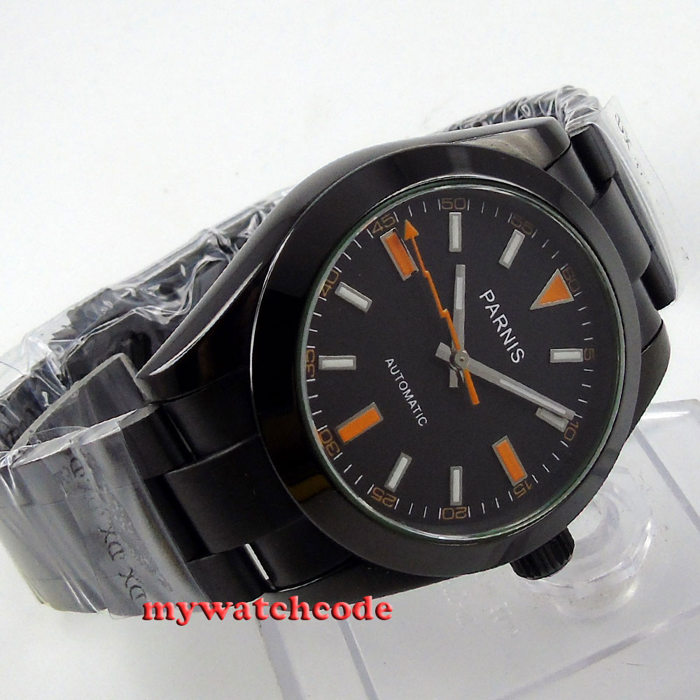 40mm Parnis black dial PVD sapphire glass MIYOTA automatic Mens Watch 264 japan miyota 40mm pvd case parnis men s watch