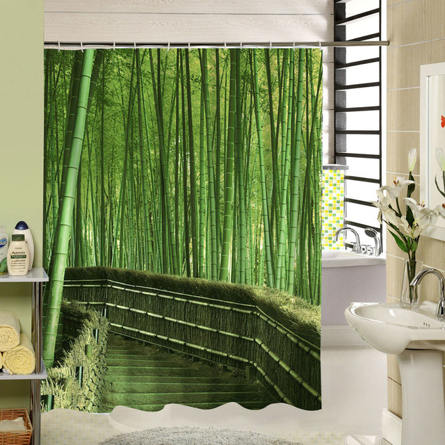 Forest Shower Curtain Green Bamboo Zen Pattern Polyester Fabric Eco Friendly Waterproof Mildewproof For Home