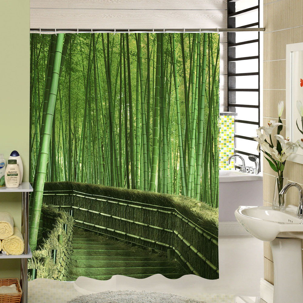Bamboo shower curtain - Forest Shower Curtain Green Bamboo Zen Pattern Polyester Fabric Eco Friendly Waterproof Mildewproof For Home