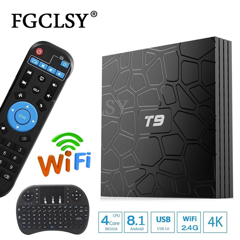FGCLSY T9 ТВ Box Android 8,1 Оперативная память 32 ГБ/64 ГБ Smart ТВ префикс Rockchip RK3328 1080 P H.265 4 К Google Play Store Youtube медиаплеера