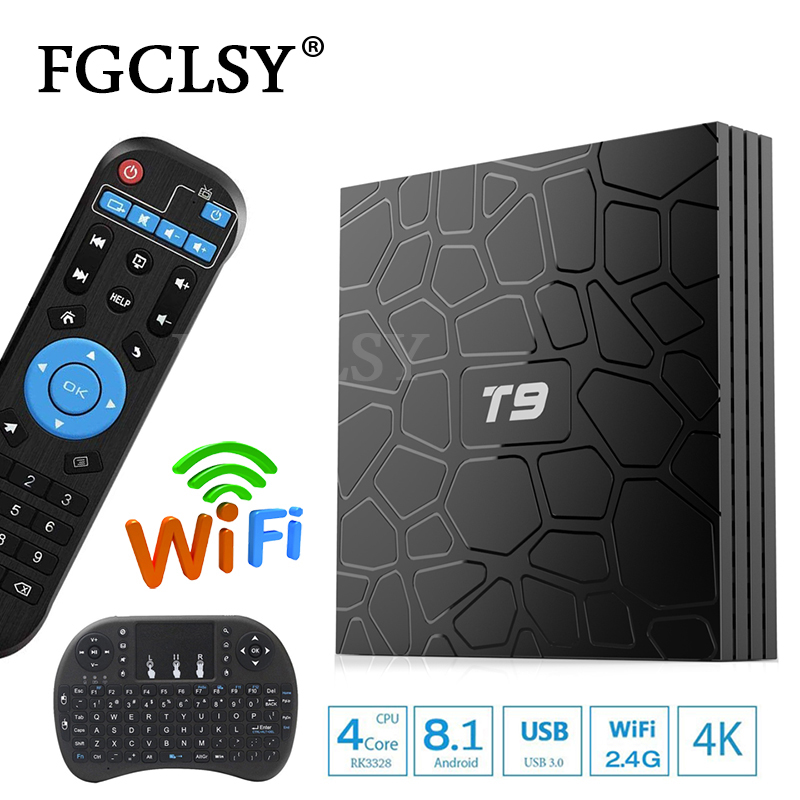 FGCLSY T9 TV Box Android 8.1 RAM 32 GB/64 GB Smart TV préfixe Rockchip RK3328 1080 P H.265 4 K Google Play Store Youtube lecteur multimédia