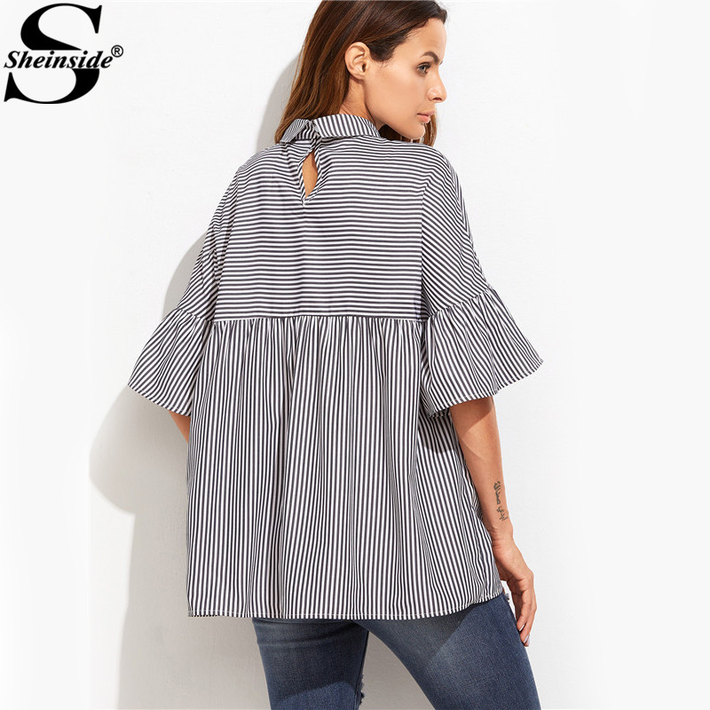 Sheinside Women Blouses and Tops European Style Korean Women Clothing Striped Ruffle Sleeve Babydoll Top Blouse