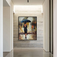 Free Shipping Black Skirt Women and Umbrella Christmas Decorations for Home Hand Painted Canvas Oil Paintings Living Room Decor