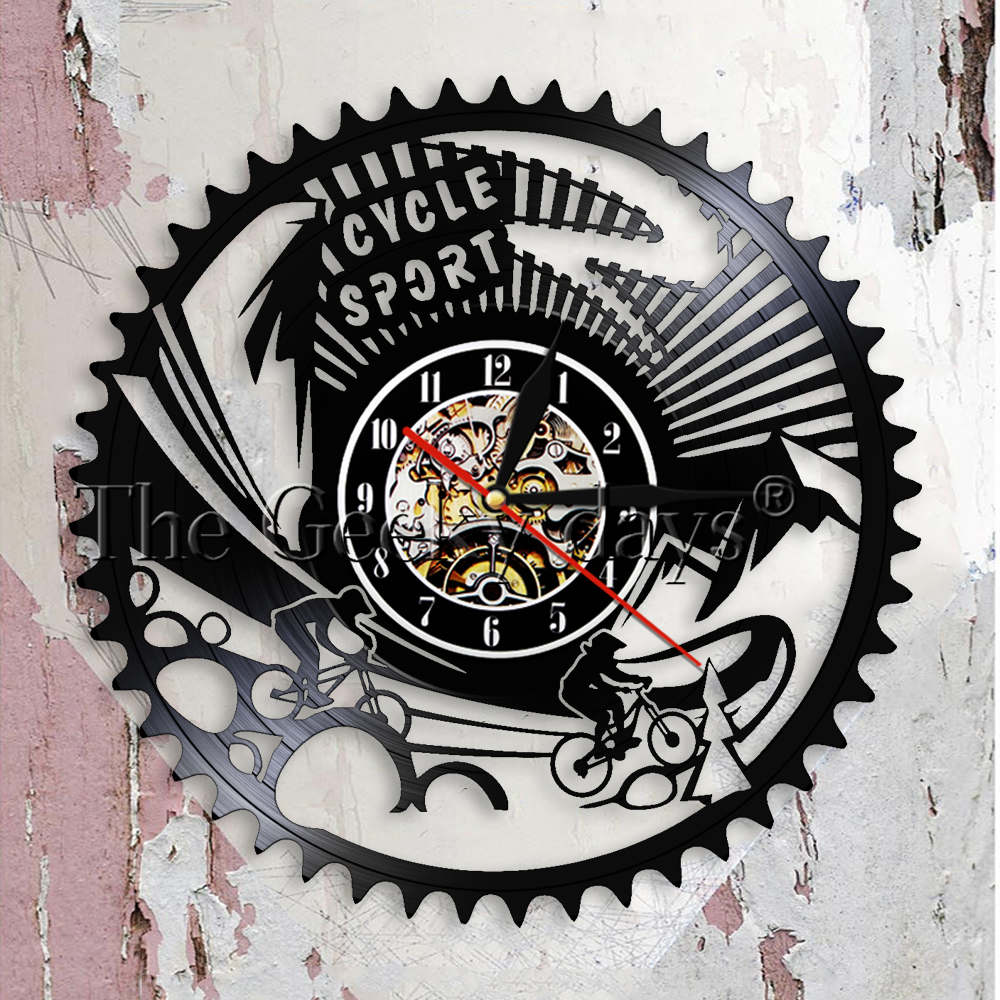Buy Clock Us 19 Aliexpress Buy Cycle Sport Mountain Bike Wall Art Wall Clock Gears Mountain Biking Vintage Vinyl Record Wall Clock Cycling Bicycle