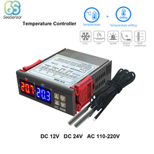 Dual Digital Temperature Controller Two Relay Output Thermostat Thermoregulator 10A Heating Cooling STC-3008 12V 24V 220V sestos dual digital pid ac dc 12 24v temperature controller 2 omron relay output d1s