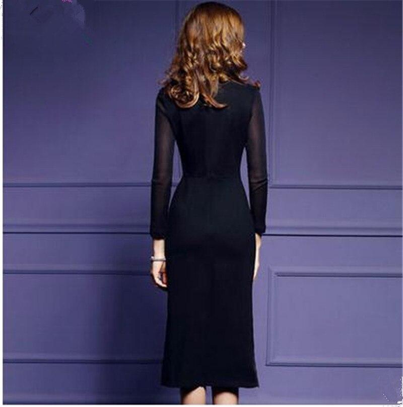 Bordado negro Bodycon Vestido de manga larga Italia Sexy Vestidos de ...