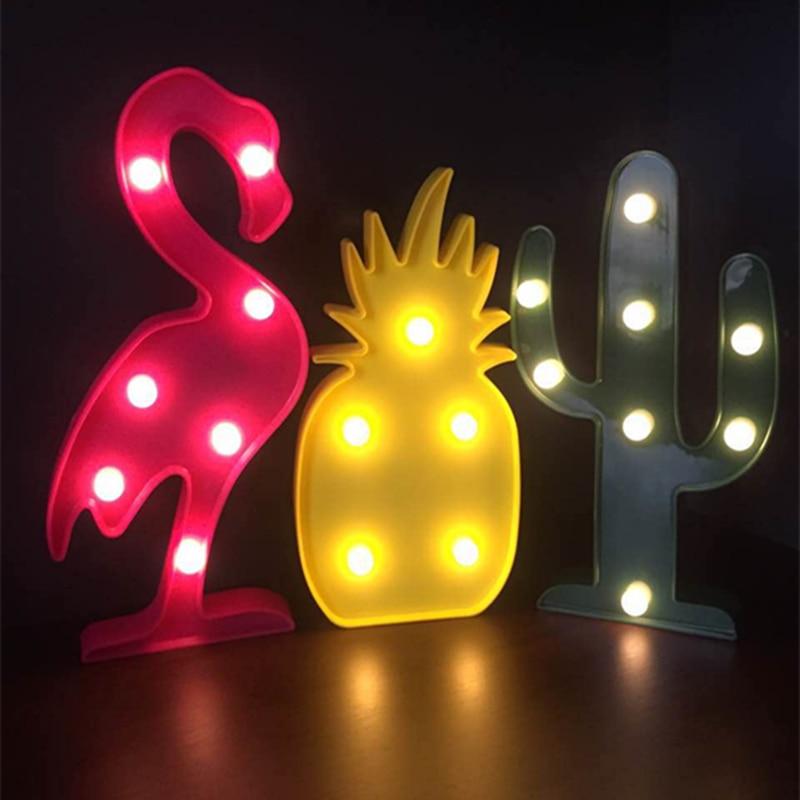 Ins кактус Фламинго ананас свет в ночь 3D шатер мультфильм стол настольные лампы Спальня дома партии украшение для детей подарок