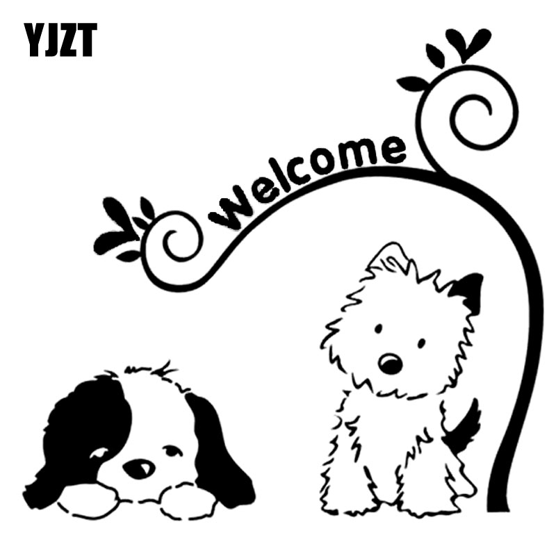 Best Price Yjzt 15cm14 1cm Cute Dog Welcome Vinyl Car Art Stickers