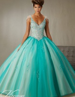Crystal Sleeves Cheap Quinceanera Gowns Long Sweet 16 Princess 15 Dresses White Pink Turquoise Dresses Online 2019 Ball Gown