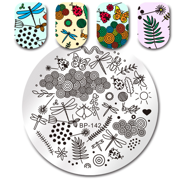 BORN PRETTY Round Stamp Plate Insect Dragonfly Dot Stamping Template ...