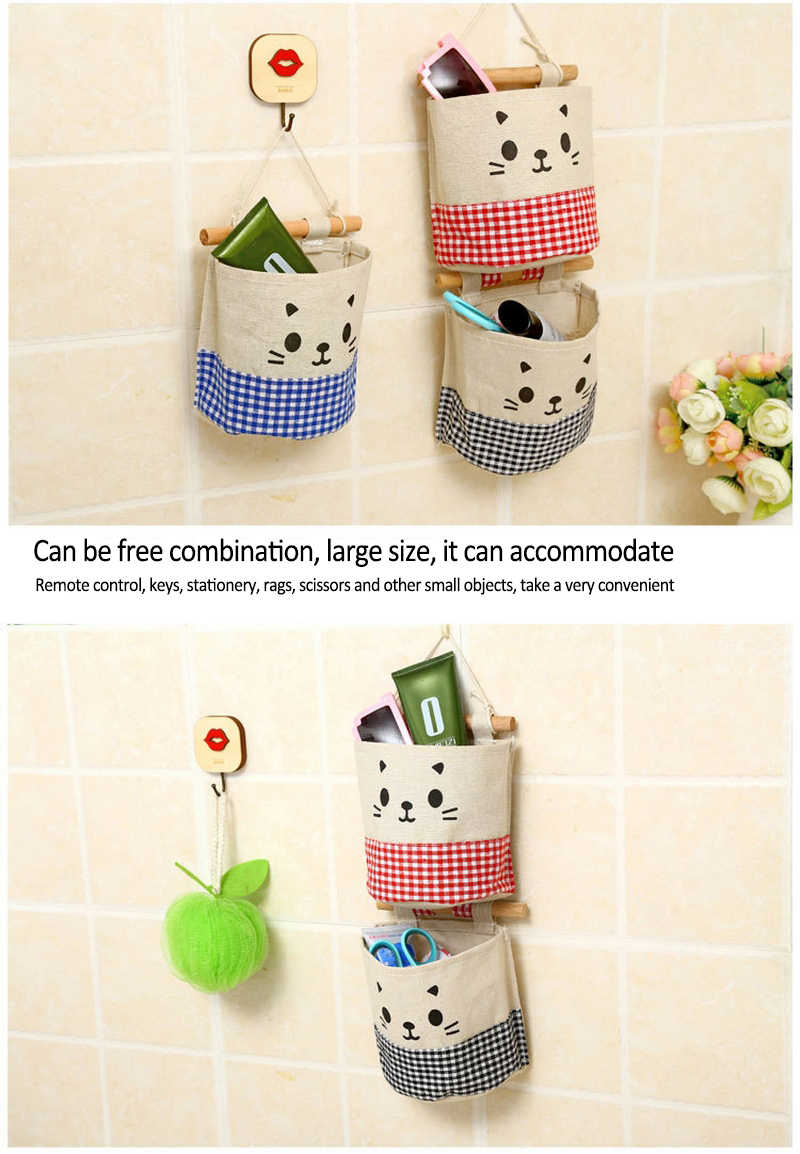 4PCS/Lot Cute Debris Storage Boxes Organizer Bags Waterproof Fabric Cotton Linen Pocket Hanger Rack Cosmetic Hanging  Basket Box