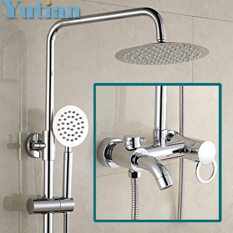 Free shipping 1 Set Bathroom Rainfall Shower Faucet Set Mixer Tap With Hand Sprayer Wall Mounted Chrome Copper YT-5335 fie new shower faucet set bathroom faucet chrome finish mixer tap handheld shower basin faucet