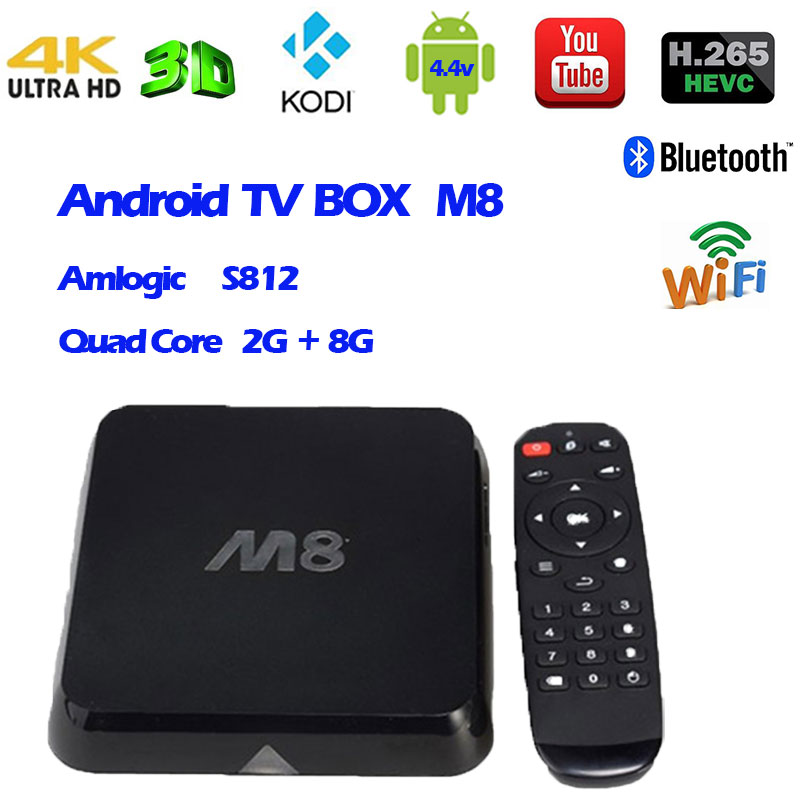 Dual wifi M8 Android TV box bluetooth 4.0 Amlogic S802 2G+8G Kodi/XBMC full loaded support Miracast Airplay  LAN streaming movie m8 fully loaded xbmc amlogic s802 android tv box quad core 2g 8g mali450 4k 2 4g 5g dual wifi pre installed apk add ons
