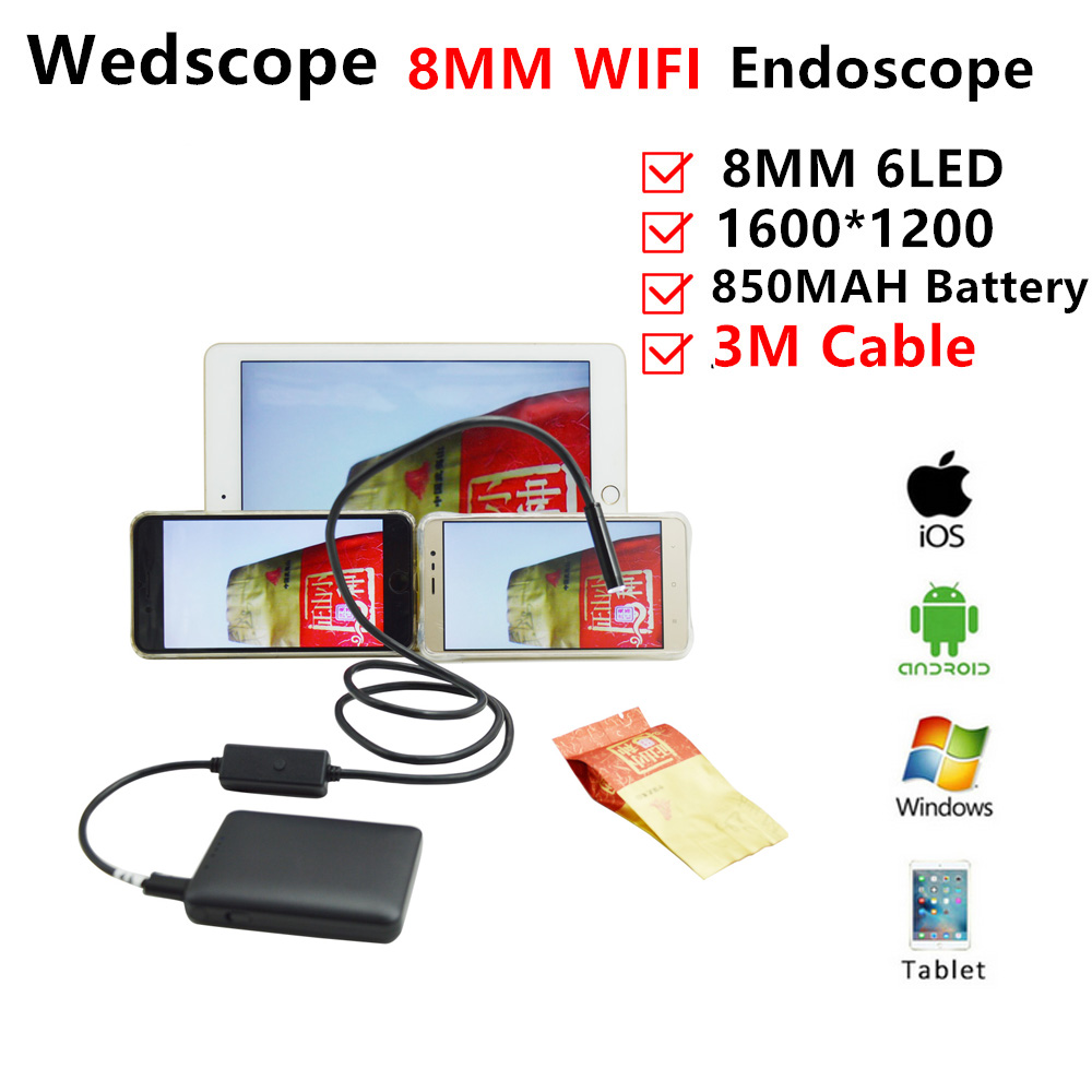 8MM 3M Wireless Endoscope Android Camera Borescope Snake Tube 720P Waterproof Car Inspection for IOS Iphone Endoscope Camera supereyes 3 5 monitor waterproof borescope videoscope 9mm diameter 800mm snake tube endoscope camera with led inspection n012j