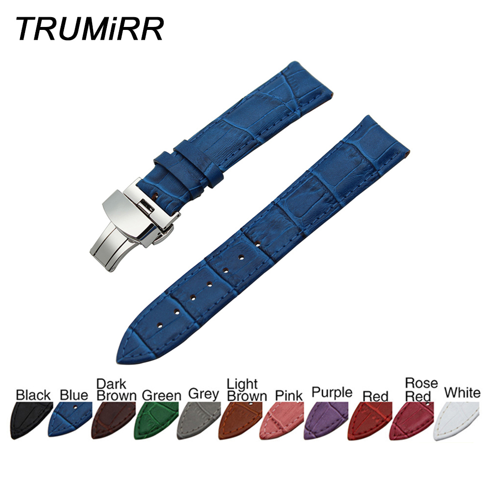 b5dcd0b57e4 Genuine Leather Watchband Croco Grain for Zenith Paul Picot Moser Watch Band  Wrist Strap Blue Black