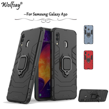 For Samsung Galaxy A30 Case Armor Metal Finger Ring Holder Phone Back Cover Fundas *