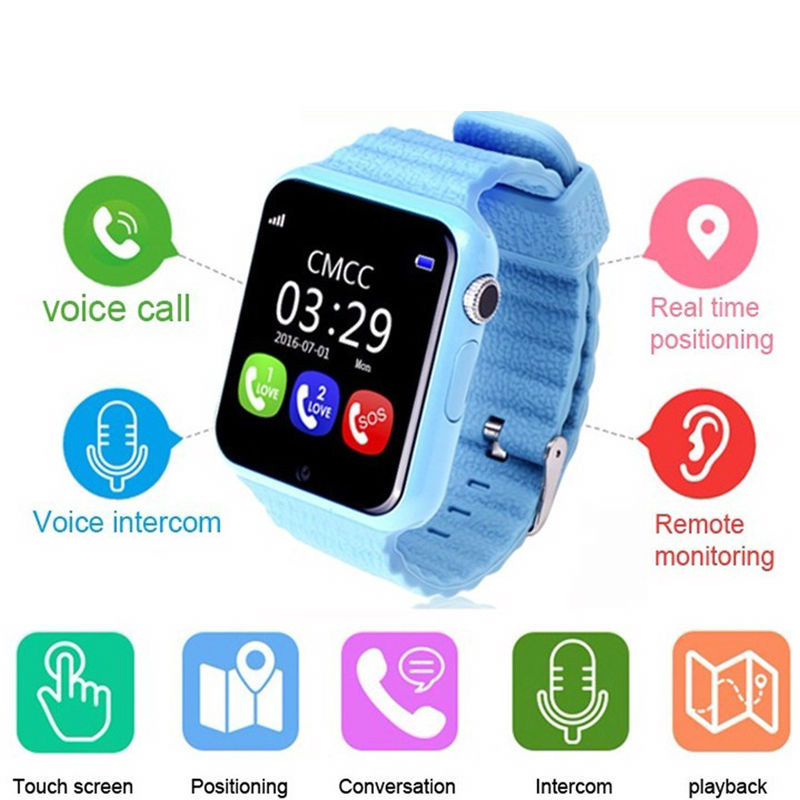 Hot Kid GPS Bluetooth Smart Watch V7K 1.54' Wristwatch SOS Call Location Device Tracker for Kid Safe Anti Lost Monitor Baby Gift wireless service call bell system popular in restaurant ce passed 433 92mhz full equipment watch pager 1 watch 7 call button