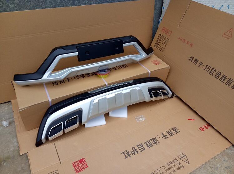 De haute qualité en plastique ABS Chrome Avant et arrière Pare-chocs Skid Protecteur Moulage 2 pcs Pour 2016-2018 Hyundai Tucson (avant + arrière)
