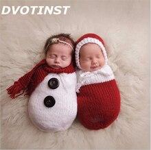 Baby Photography Props Crochet Knit Christmas Snowman Hat+Sleeping Bag Fotografia Accessories Infant Toddler Studio Shoot Photo