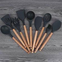 Кухонная антипригарная кулинарная ложка шпатель ковш венчики для взбивания яиц посуда силиконовые и деревянные инструменты для приготовления пищи