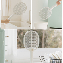 Electric Mosquito Swatter Three-layer Anti-electric Shock Net USB Charging Dispeller Portable  With Base Bracket 3000V