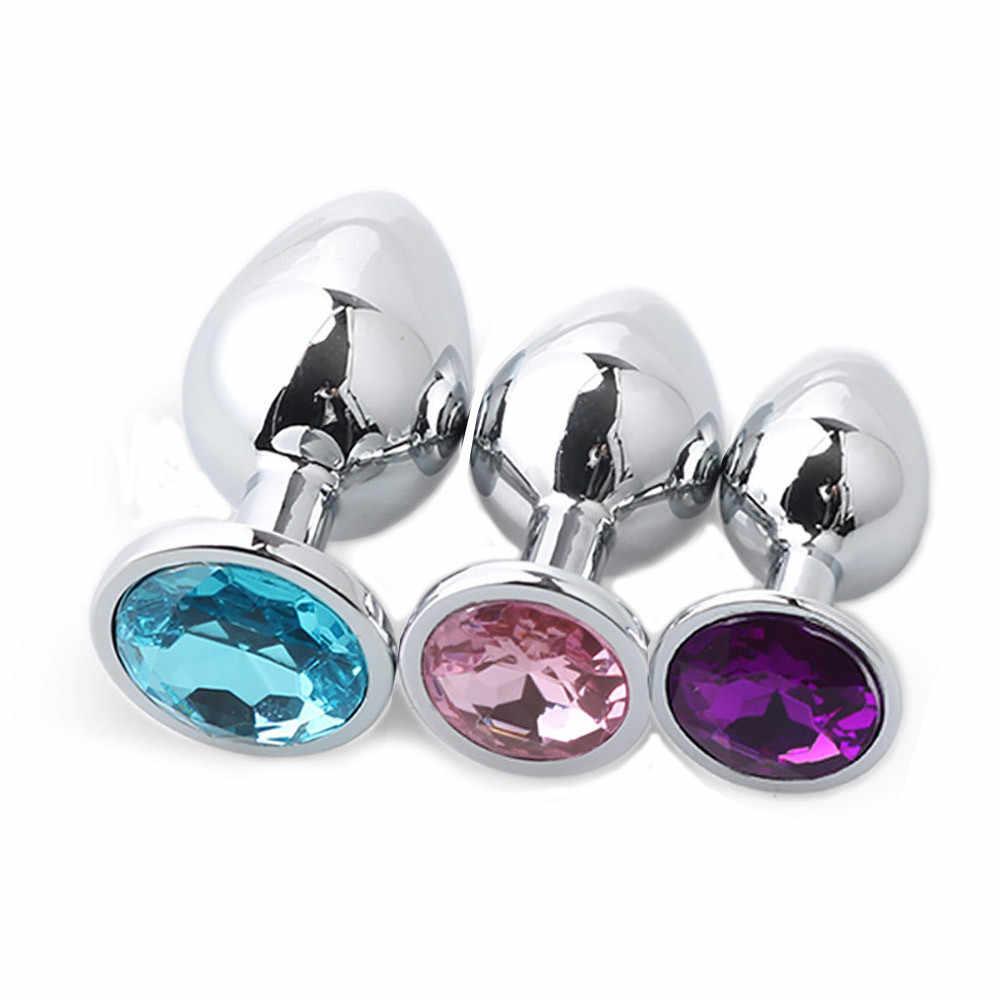 Высокое качество 3 шт./компл. сексуальный анальный штекер круглая форма база с ювелирными изделиями камень по дню рождения Butt-Anal-Play Rose Jewel Sex #5