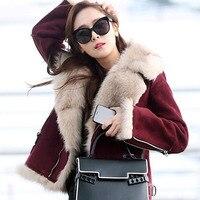 Свободные Толстой замши натуральным лисьим мехом + флис карамель Для женщин зимняя панк мото пальто на молнии куртка W170