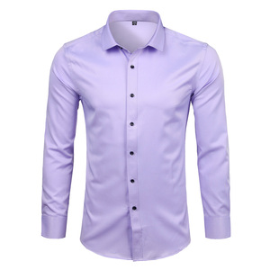 Image 1 - Mens Bamboo Fiber Dress Shirts Casual Slim Fit Long Sleeve Chemise Homme Formal Office Wear Elastic Social Shirts Purple 4XL