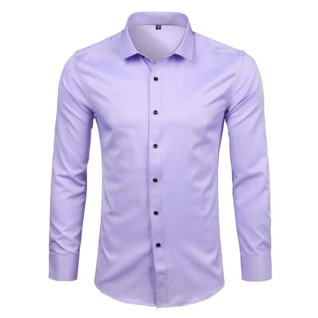 Mens Bamboo Fiber Dress Shirts Casual Slim Fit Long Sleeve Chemise Homme Formal Office Wear Elastic Social Shirts Purple 4XL