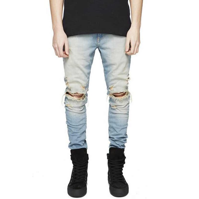 Famous Brand Designer Slim Fit Ripped Jeans Men Hi-Street Mens ...