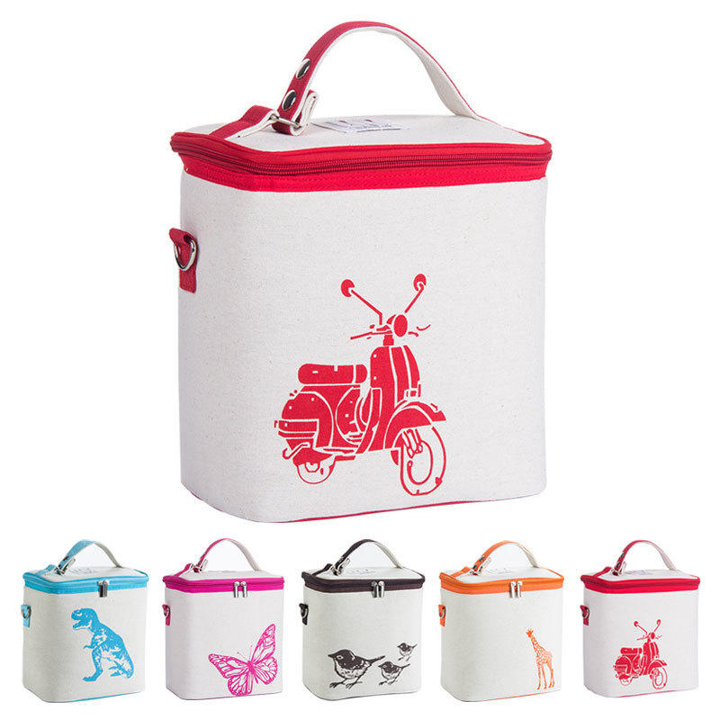 8l Insulated Bag Lunch Bag Box Cotton Print Picnic Food