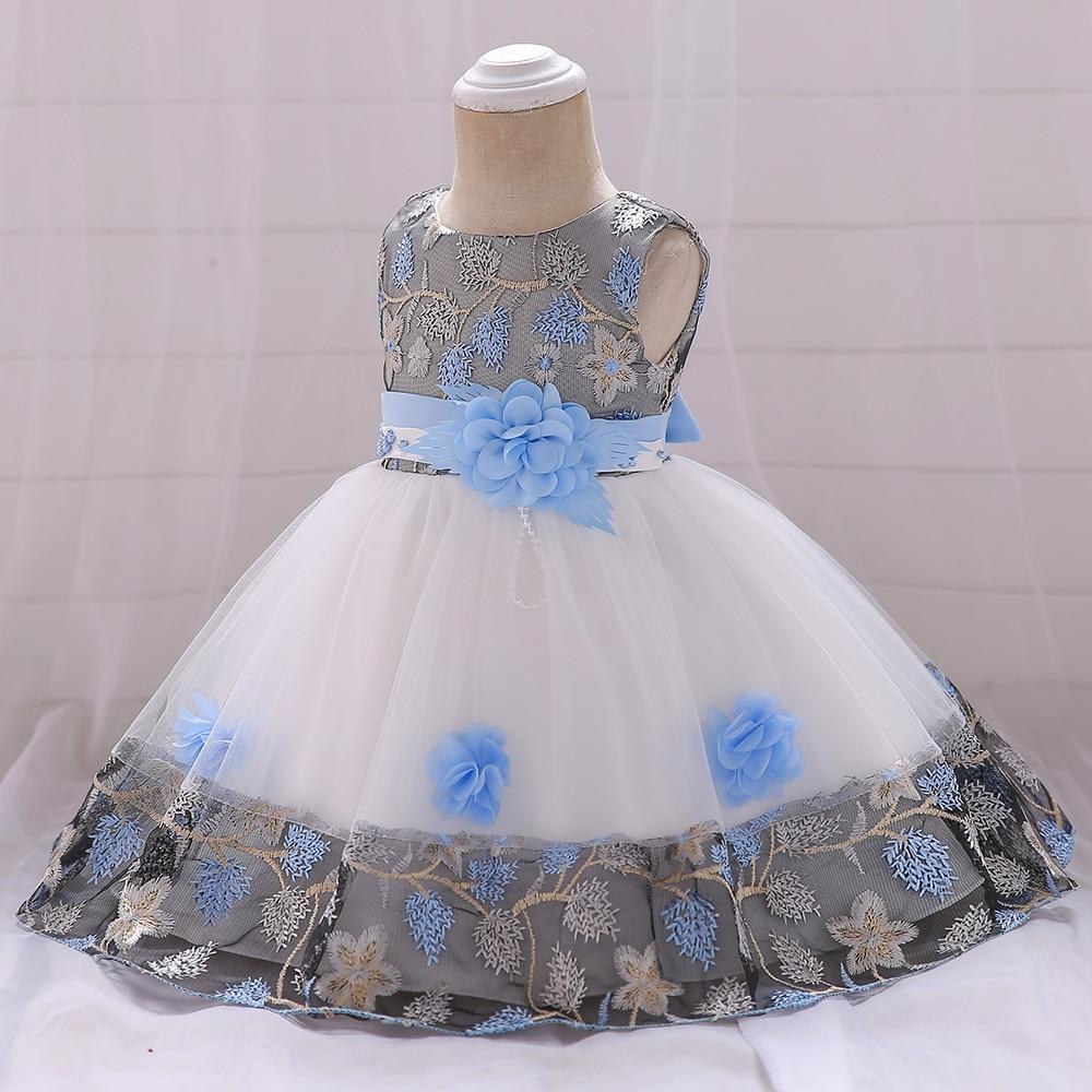 492dcb245 Ropa de niñas perla bordado vestido de boda blanco de Navidad los niños ropa  de los